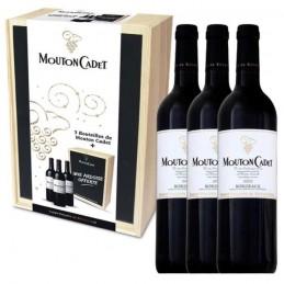 Coffret Cadeaux Bois de 3 bouteilles Gravé Mouton Cadet