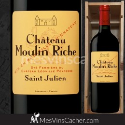 Double Magnum Château Moulin Riche  2013 Saint Julien  en Plumier Bois