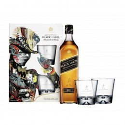 Whisky Black Label 70 cl + 2 verres Coffret Limited Edition  J.Walker