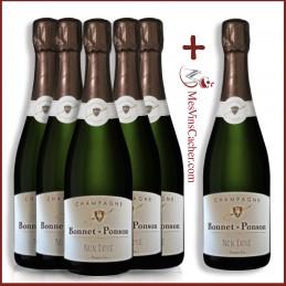 Champagne Brut 1er Cru Non Dosé Bonnet Ponson (5 achetés + 1 Offert )
